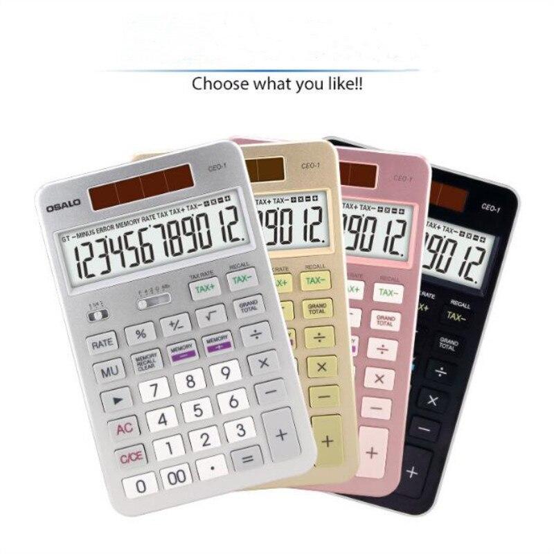 NEW CEO-1 Flat panel calculator business office desktop solar calculator 12-bit display tax calculators