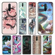Funda serpiente flores para Xiaomi Redmi Note 9S 8 8T 9 Pro Max 7 8A 7A 7S K30 K20 funda de silicona negra para teléfono