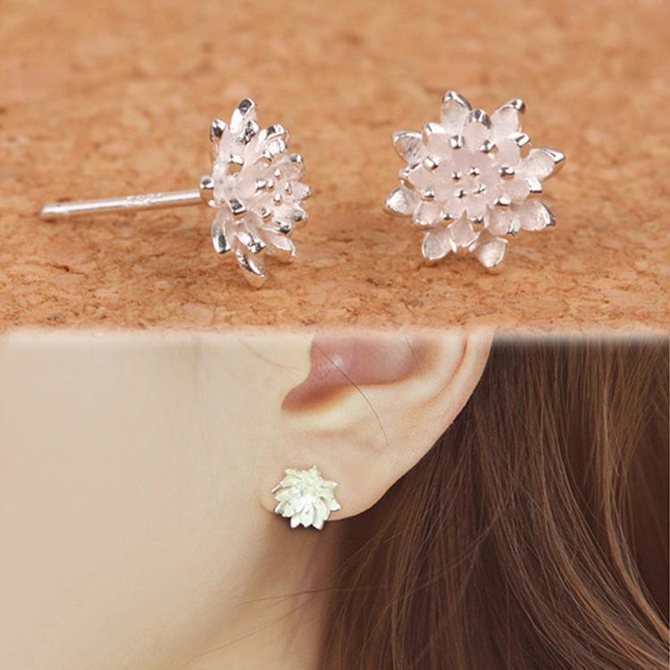 Cute Female Handmade Jewellery Women's 925 Sliver Lotus Flower Ear Stud Earrings