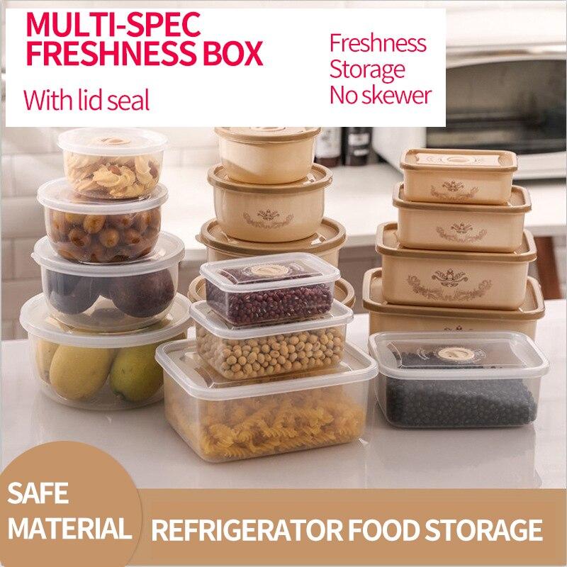 4PC/set Food Container Plastic Bento Fresh-Keeping Box Fridge Multi Capacity Crisper Microwave Kitchen Storage Box Meat Beans