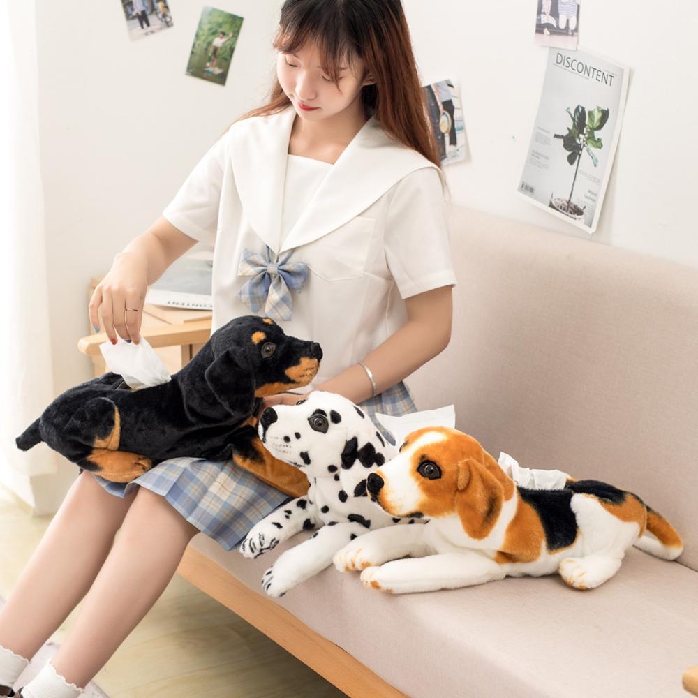Bonita caja de pañuelos de felpa de perro de imitación de 46CM con dibujos animados bonitos, soporte de papel duradero para sofá o coche para el hogar, funda para servilleta, bolsa de regalo para niña