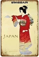 zhuoyuett metal sign poster japan travel japan ukiyo e old style wall art painting plaque tin painting 20x30cm yd9739ej