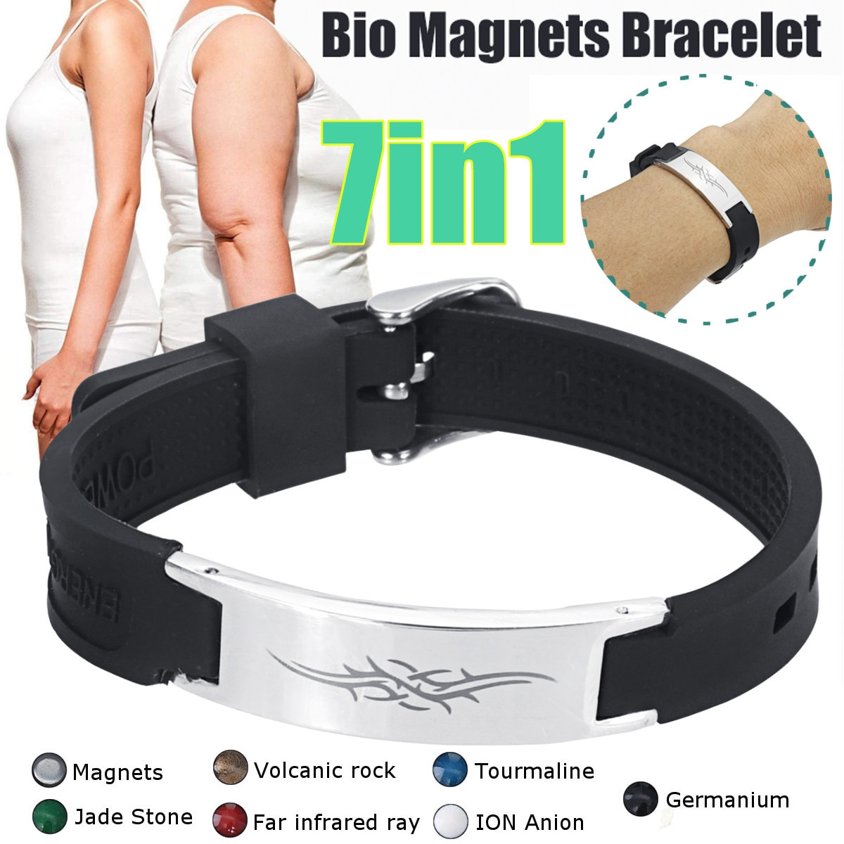Fashion 7 in 1 Titanium Magnetic Energy Armband Power Bio Bracelet Health Pain Relief Magnet Health Bracelet New
