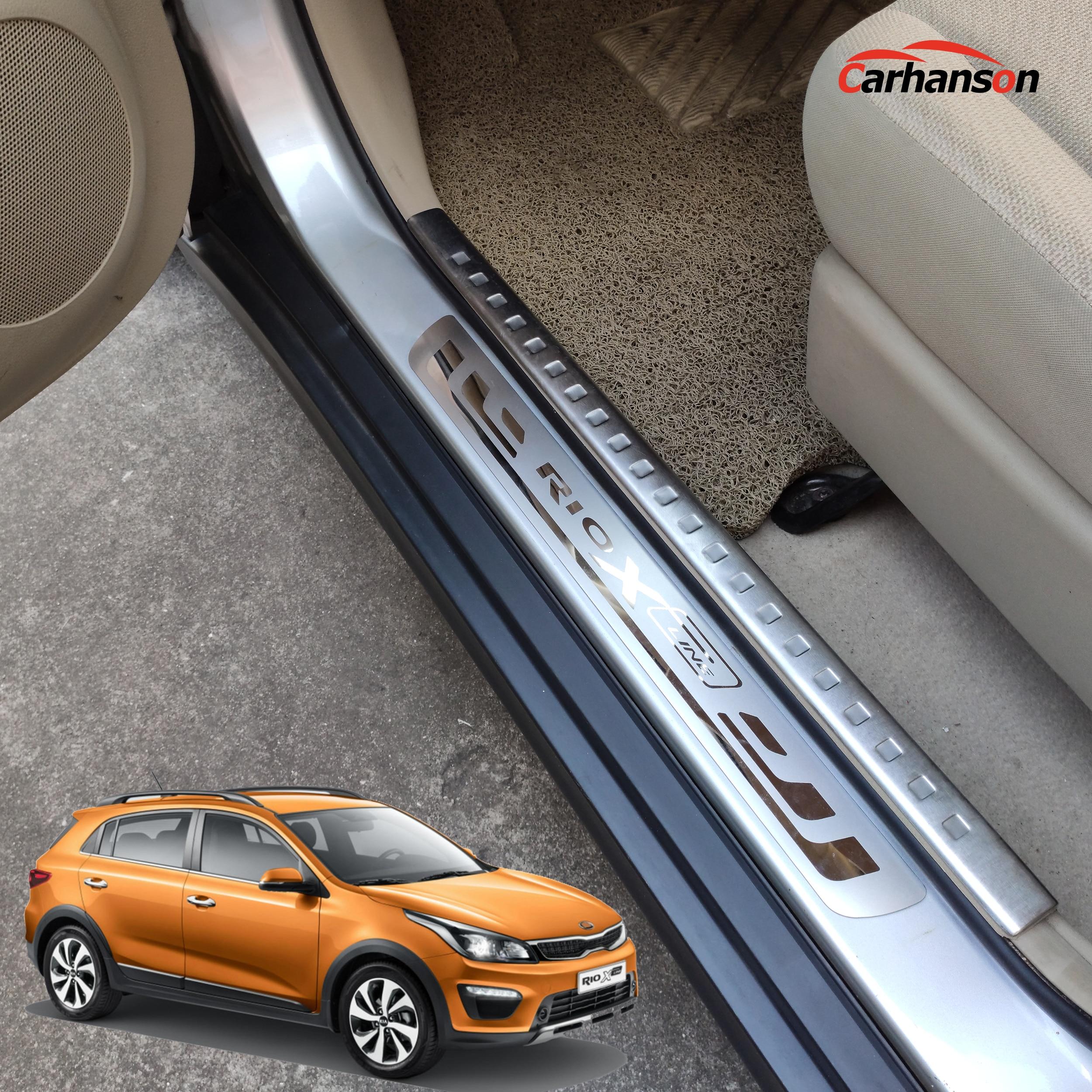 Estilo de coche para KIA RIO 3x4 x-Accesorios de línea de acero inoxidable embellecedor de alféizar de puerta desgaste protectores pedal Línea x 2015, 2017, 2018, 2019