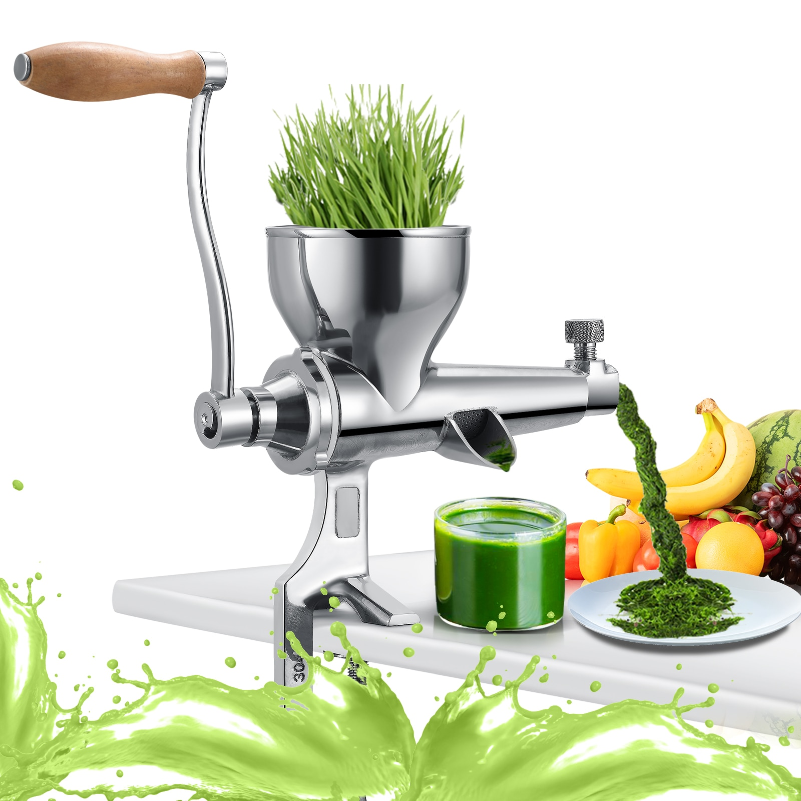 VOGVIGO Wheat Grass Juicer Wheat Grass Hand Squeegee Stainless Steel For Grass Fruit And Vegetable