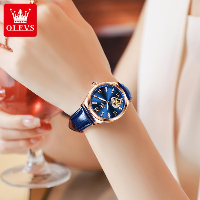 OLEVS New Fashion Women's Breathable Casual 30M Waterproof Leather Heart Shaped Hollow Mechanical Automatic HD Luminous Watches enlarge