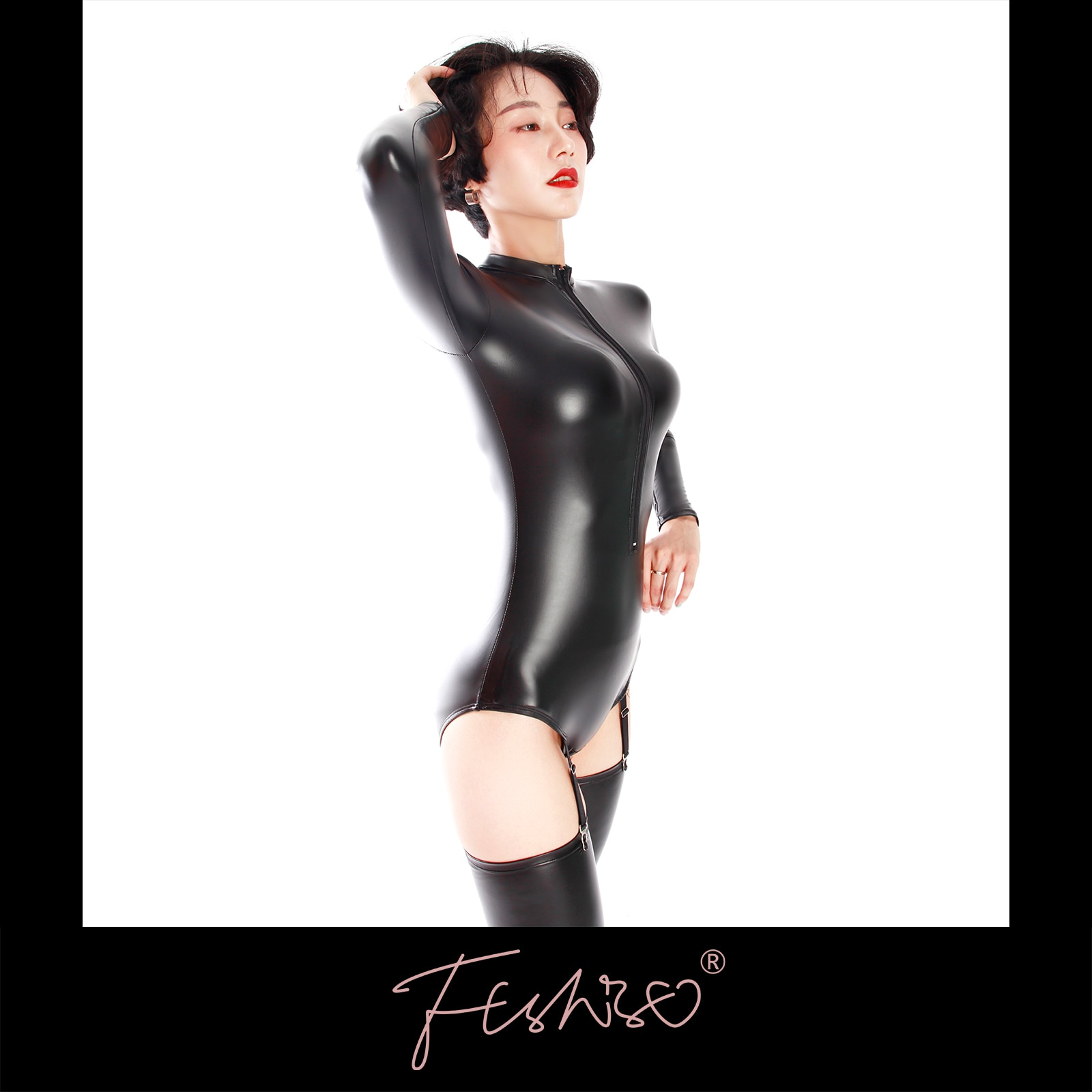 Ftshist Long-Sleeves Wet Look Bodysuit With Zipper And Garters Matte Faux Leather Sukumizu Small Rou