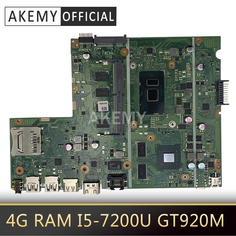 Akemy x541uj x541uvk placa-mãe do portátil para asus x541uj x541uv x541u x541 teste original mainboard 4g ram I5-7200U gt920m
