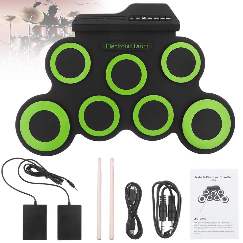 Portable électronique numérique USB 7 tampons enrouler ensemble Silicone vert batterie électrique Kit avec pilons et soutenir pédale chaude