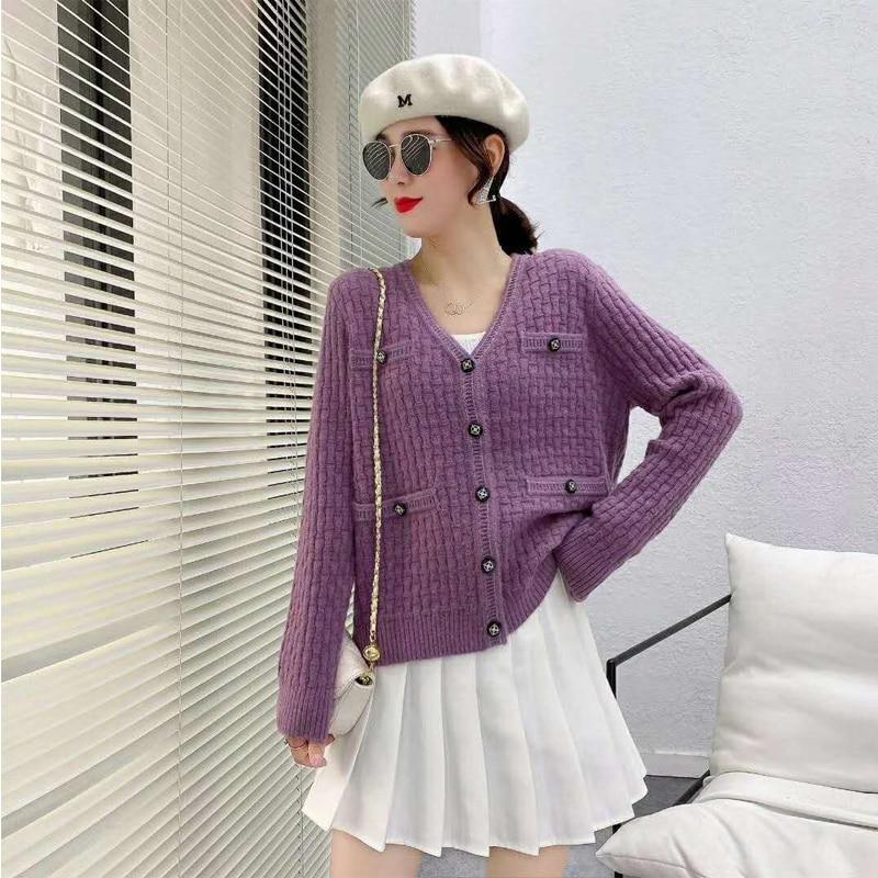 V Neck Cardigans Sweater Women New Autumn Winter Elegant Solid Korean Cardigan soft warm woman sweaters enlarge