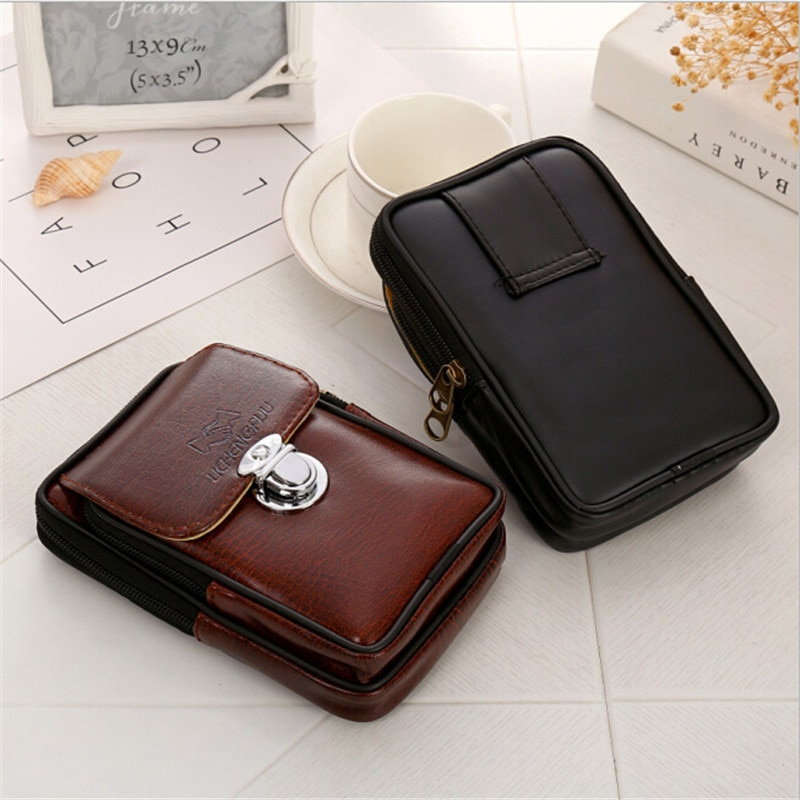 high quality genuine leather men hip bum belt purse fanny pack pouch mini cell mobile phone pocket cigarette case hook waist bag New PU Leather Vintage Waist Packs Purse Men Travel Fanny Pack Belt Loops Hip Bum Bag Wallet Waist Bag Mobile Phone Pouch