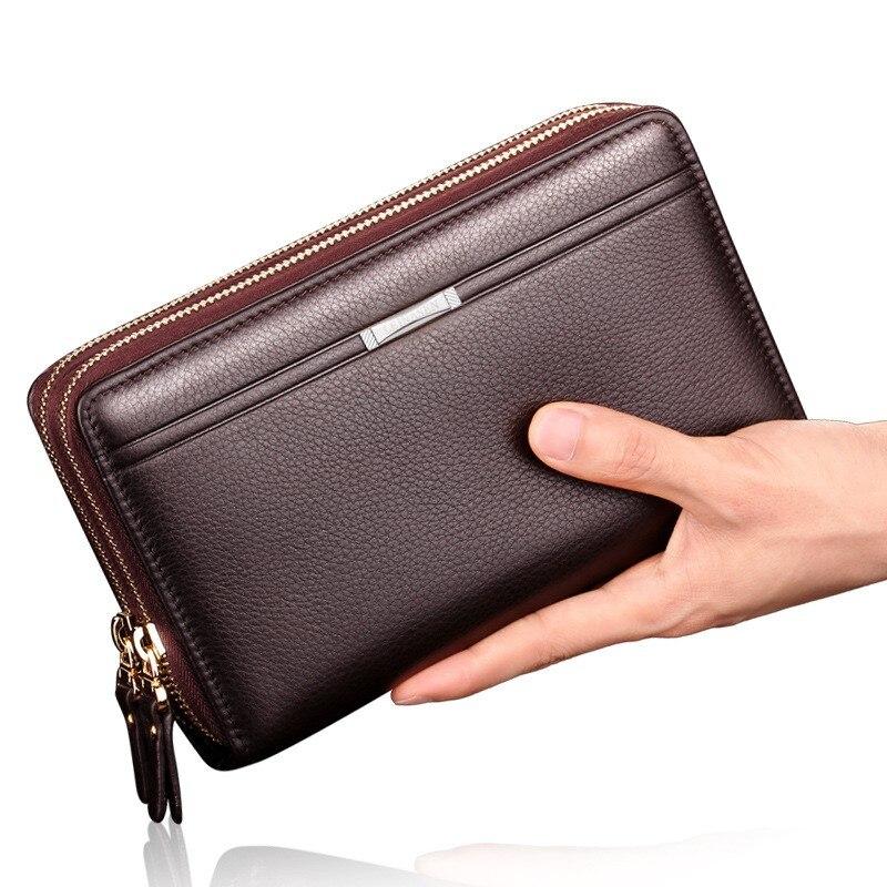 Bolso de mano para hombre, cartera impermeable, bolso de moda juvenil, cartera para hombre, bolso largo con cremallera
