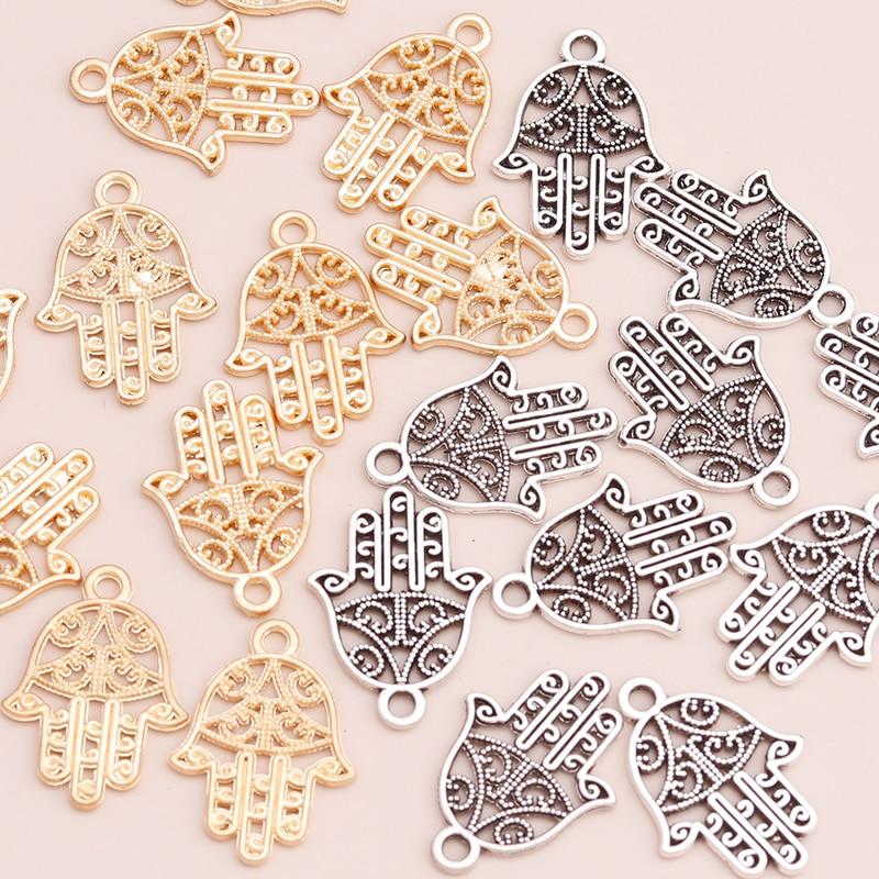 Винтажные Подвески в виде руки хамсы для изготовления ювелирных изделий «сделай сам», 50 шт.