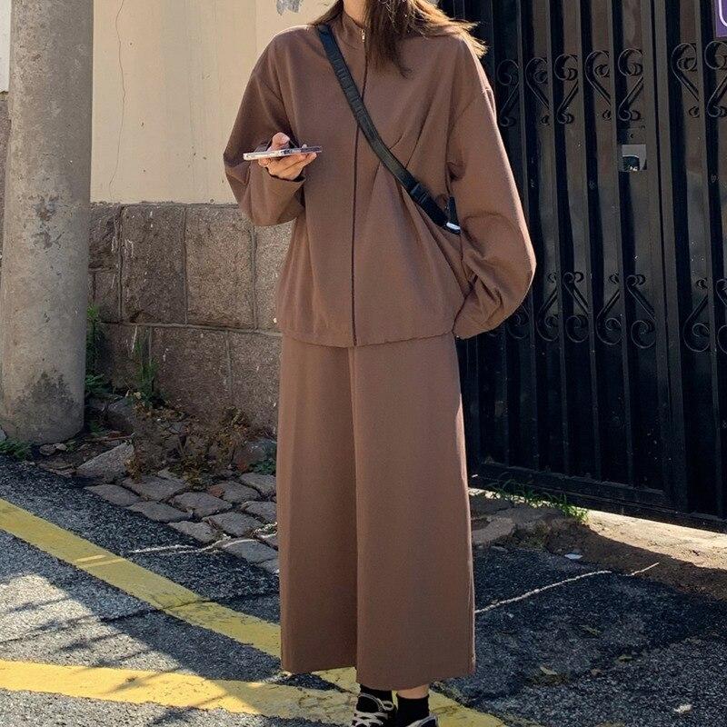 Женский костюм с юбкой, винтажный пиджак, Корейская версия, Новинка осени 2021, свободный и модный спортивный костюм для отдыха, трендовый кос...