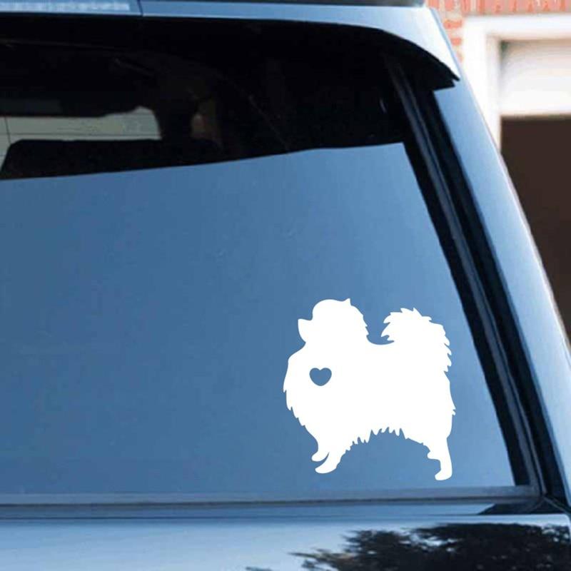 Cartoon Pomeranian Dog Animal Black/white Dog Car Sticker Waterproof Decals Car Styling Accessories Window Decor 12x11cm
