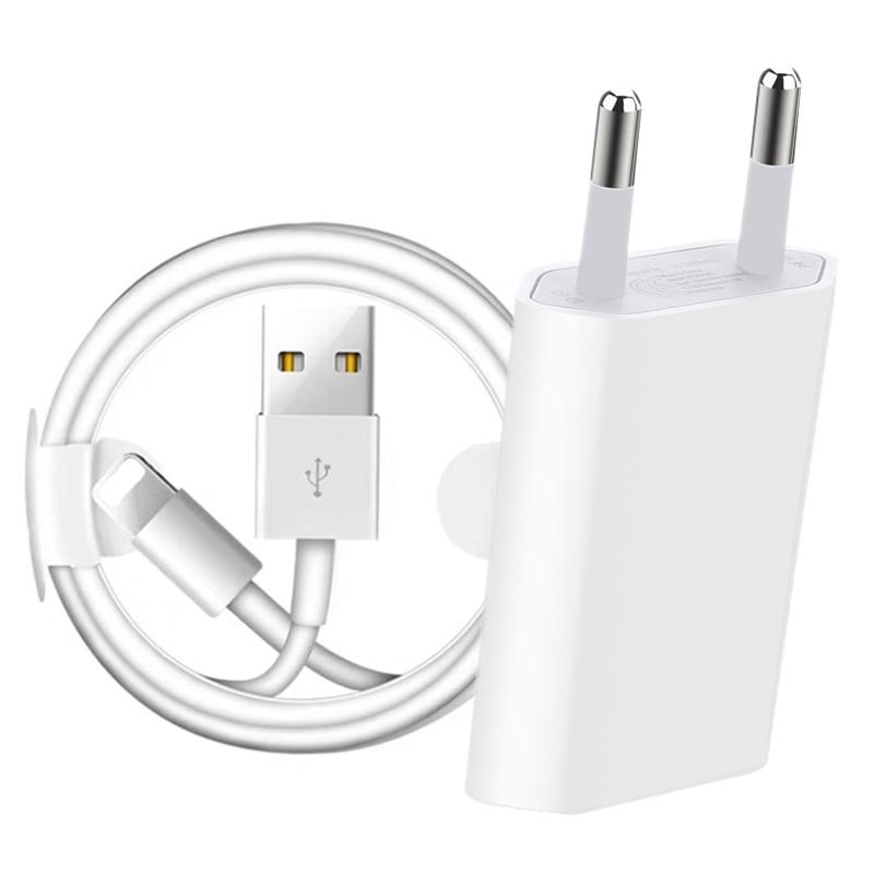 كيت 1m 2m USB شحن كابل الاتحاد الأوروبي التوصيل USB شاحن ل فون 6 6S 7 8 زائد X XR XS 11 برو ماكس 5S SE الهاتف جدار شاحن كابل بيانات