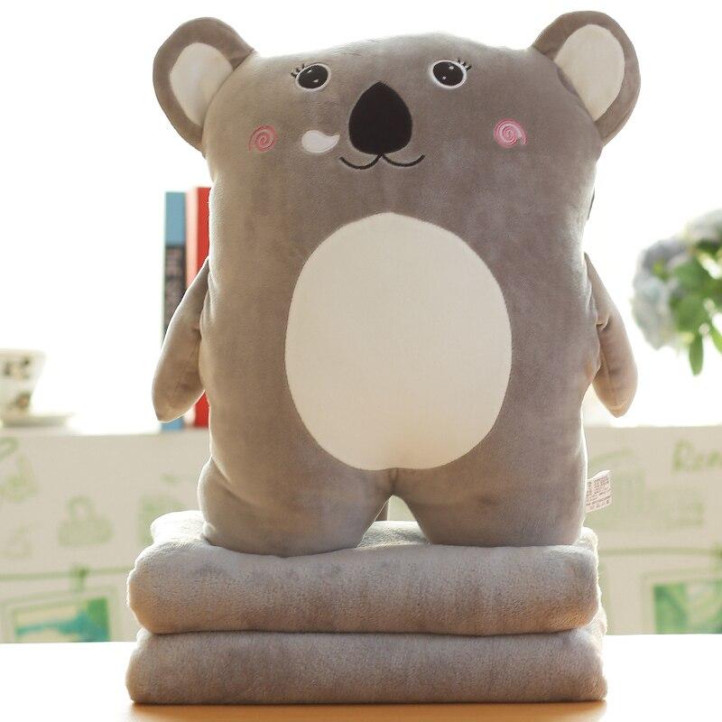 الكرتون الحيوان محشوة وسادة لينة مدفئات اليدين مع بطانية المخملية المستخدمة في المكتب والمنزل ثلاثة في واحد الوسائد