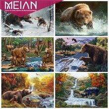 MEIAN Animal complet rond forage diamant peinture ours 5D broderies diamant broderie mosaïque Animal Kit complet décoration de la maison
