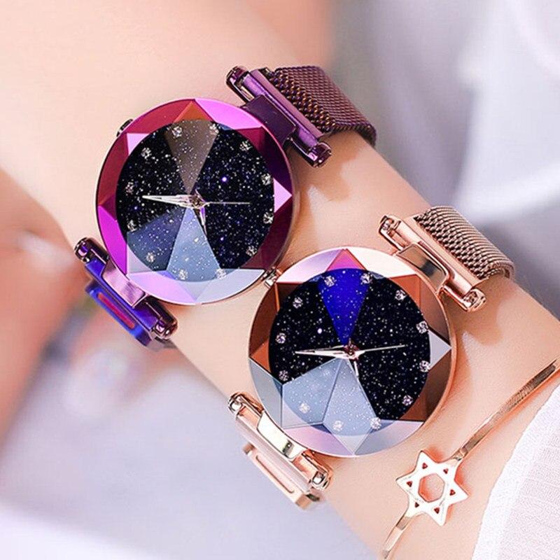 Nueva moda de Gogoey marca cielo estrellado cielo relojes romántico de las mujeres Rhinestone señoras reloj de vestido Casual de cuarzo reloj de pulsera reloj de mujer