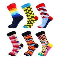 6 pair novelty cotton funny mens and women socks harajuku fashion plaid stripe animals fruits food happy mens gifts dress socks