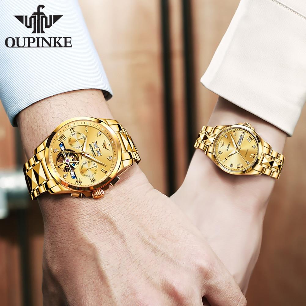 OUPINKE Men Women Watches  Luxury Automatic Mechanical Couple Watch Stianless Steel Watch Men  Waterproof Business  Laies Watch