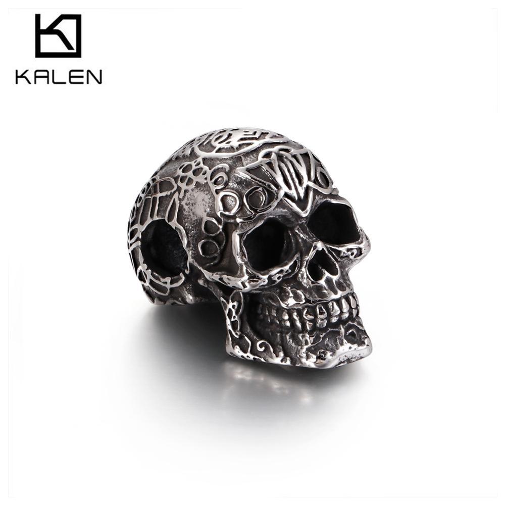 25*24Mm Titanium Staal Skelet Schedel Hanger Ketting Voor Mannen Punk Ghost Hoofd Sieraden