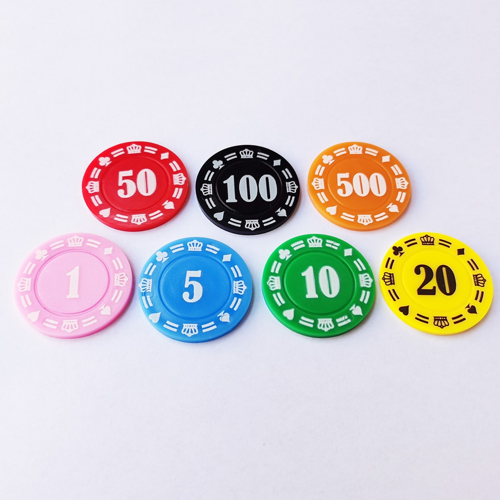 10 PCS 37mm Round Plastic Chips Casino Poker Card Game Baccarat Counting Accessories Dice Entertainment Poker Chip Token