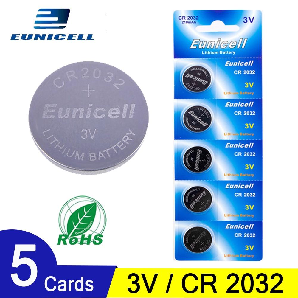 5 uds. Pilas de botón de moneda de 210mAh CR2032 DL2032 CR 2032 KCR2032 5004LC ECR2032 3V batería de litio para relojes de juguete luz LED