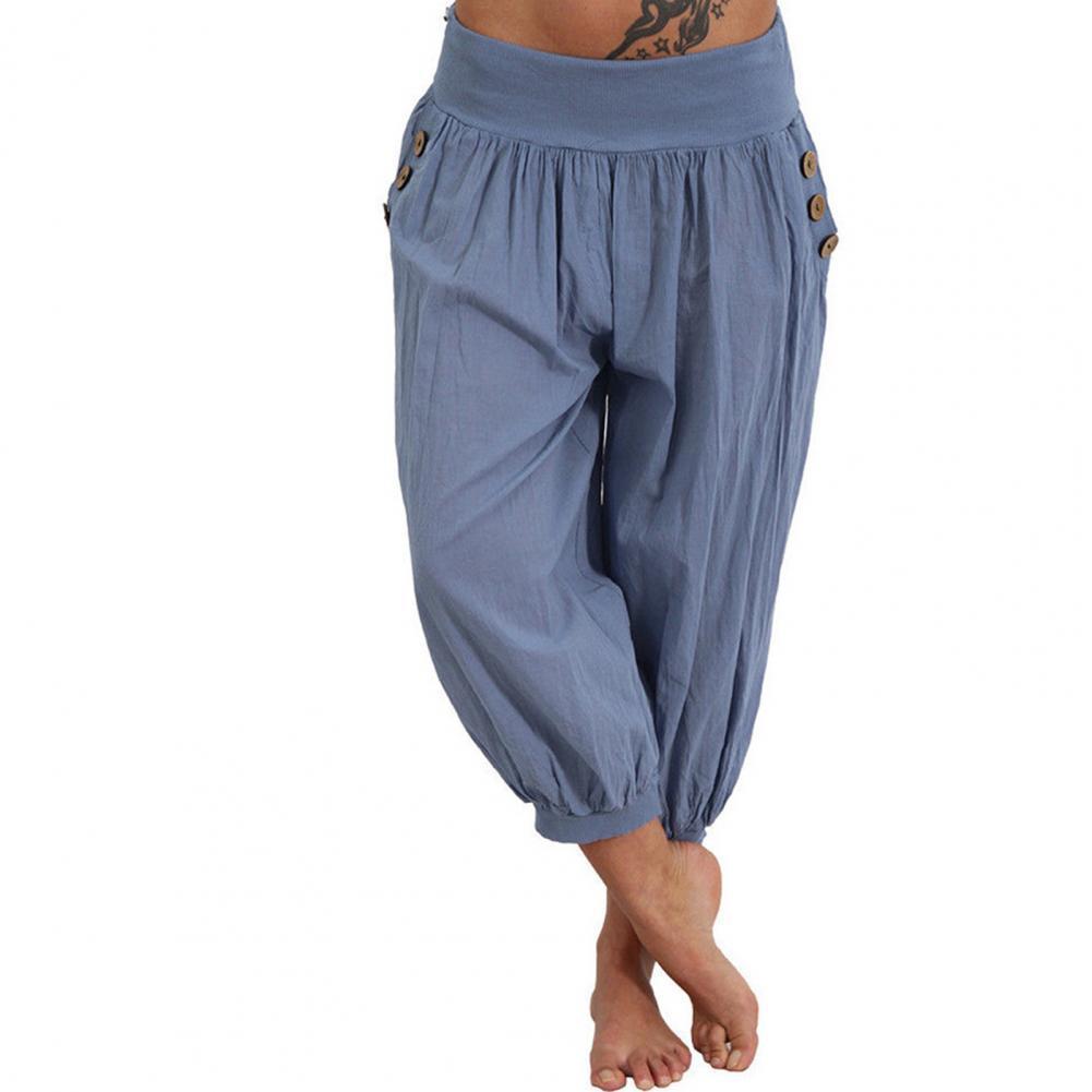 Брюки-Капри свободного покроя в форме фонарика, повседневные женские однотонные шаровары для дома, брюки, женские брюки-Капри, повседневные... zeusedera брюки капри