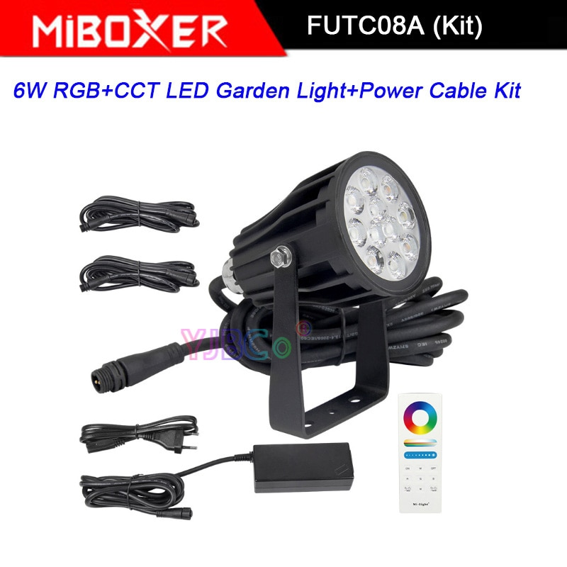 Miboxer FUTC08A 3 pieces RGB+CCT 6W LED Garden Light+DC24V 65W led Power Supply +Cable connector+FUT088 2.4G Remote control enlarge