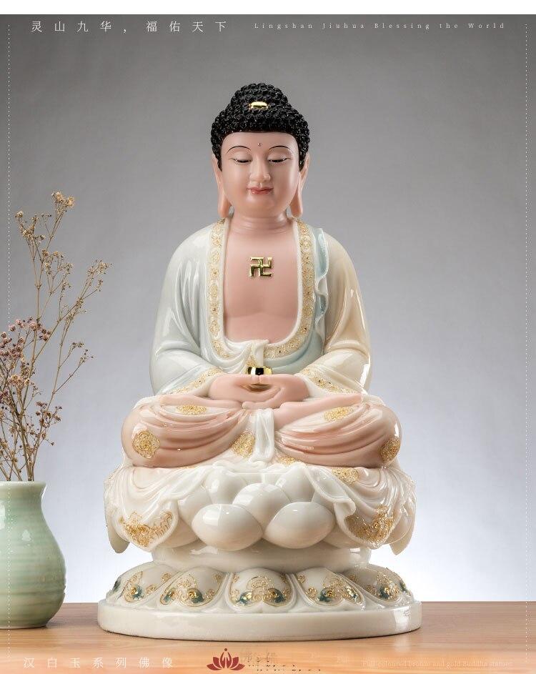 Topo de Alta Ásia Qualidade Sakyamuni Amitabha Buda Estátua Casa Família Templo Adoração Bendito Patrono Santo Deus Trazer Boa Sorte 2021