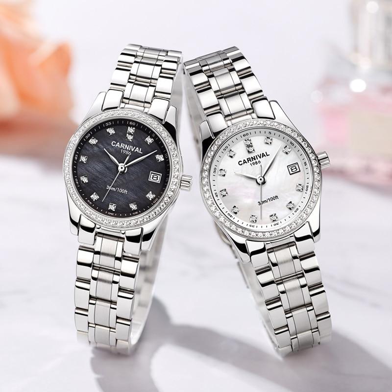 CARNIVAL Brand Ladies Fashion Gold Watch Woman Luxury Waterproof Bracelet Dress Calendar Quartz Wristwatch 2021 Relogio Feminino enlarge