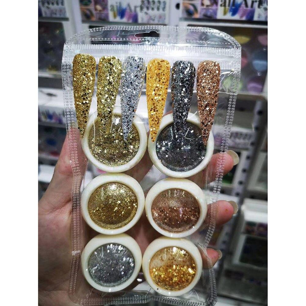 Купить с кэшбэком 6Jars/Set Mermaid 3D Glitter Nail Flakes Hexagon Colorful Sequins UV Gel Polish Sparkly Powder Dust DIY Charm Glitter Flakes #S1