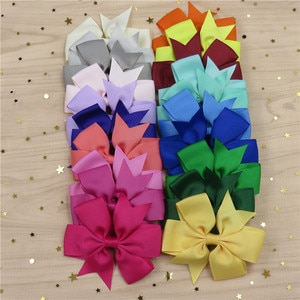 20PCS/LOT Lovely Solid Color Ties Only Bows Elastic Bands For Baby Girl Hairpin Clips Cloth Pins Scrunchy Kids Hair Accessories