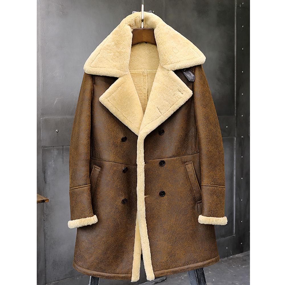 Mens Brown Shearling Jacket B3 Flight Jacket Sheepskin Aviator Long Mens Winter Coats Fur Bomber Leather Jacket Trench Coat