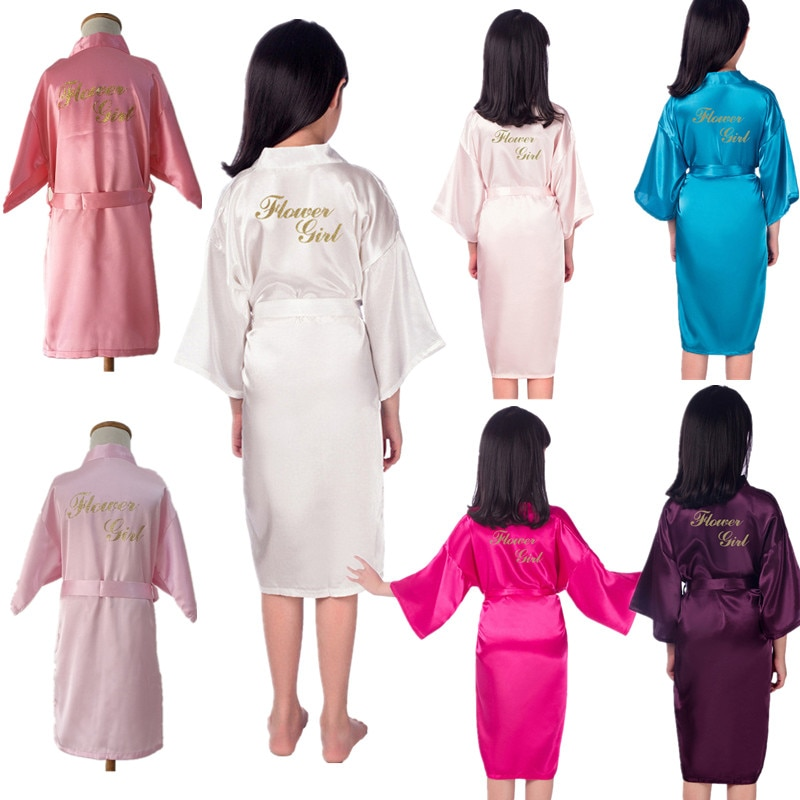 Wholesale Link Flower Girl Robe Gold Glitter Children Satin Silk Kimono Solid Color Kids Sleepwear for Wedding Spa Party