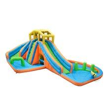 Tobogán de agua inflable doble para piscina castillo hinchable para niños centros de juegos de fiesta diseño de escalada Casa de rebote soplador de aire de patio