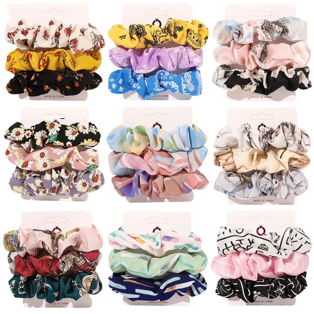 3pcs/set Woman Boho Printed Hair Ties Set Girls Rubber Band Scrunchies Hair Accessories Hair Rope Headwear Elastic Hairband