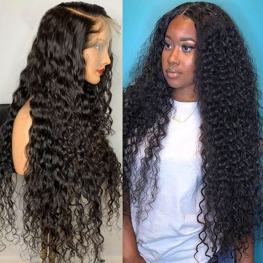 13x4 Hd Transparent Lace Deep Wave Frontal Wig Wet And Wavy Curly Lace Front Human Hair Wigs For Bla