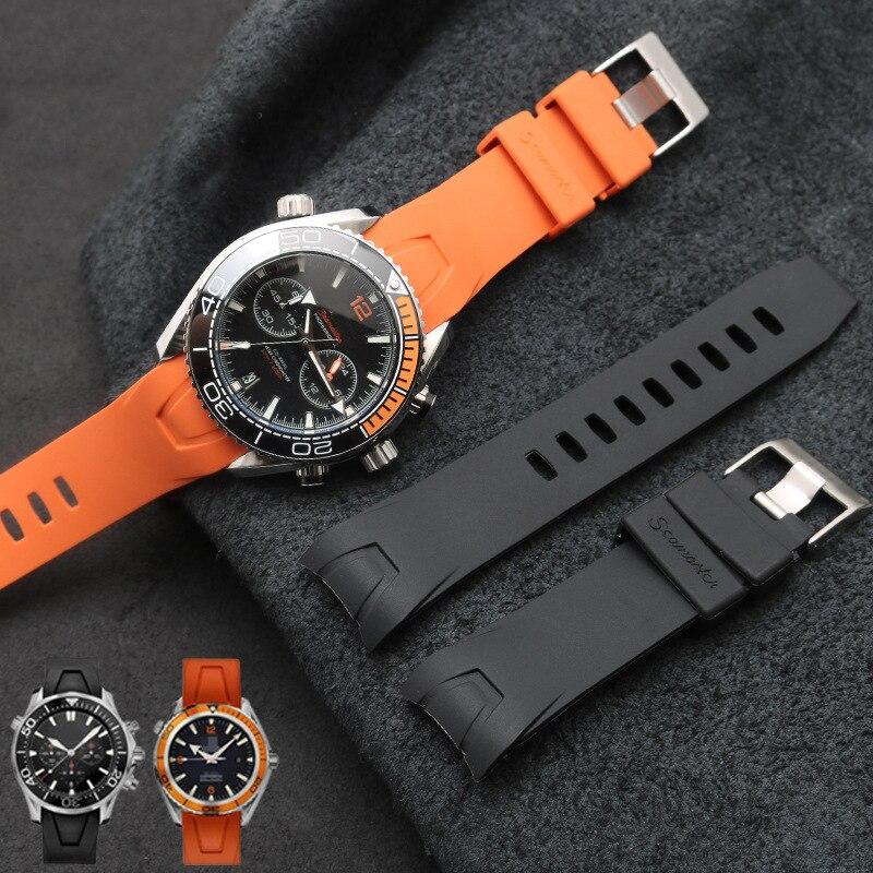 Calidad de marca, correa de silicona de goma suave de 20mm para reloj, hebilla para cinturón arenoso, correa especial para Omega para Seamaster 300 logos
