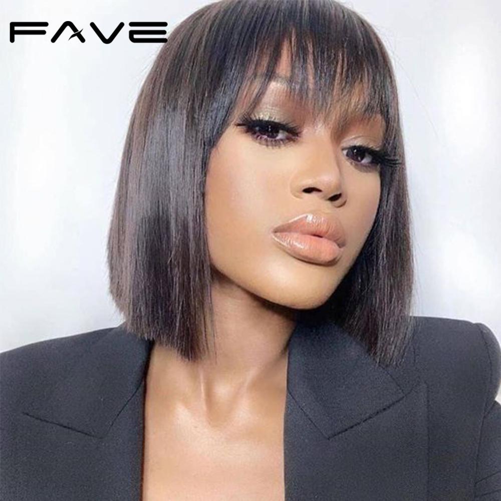 AliExpress - FAVE Short Pixie Cut Wigs Brazilian Straight Wig Remy Human Hair Bob Wigs Bangs Wig Colorful Wigs For Black Women Fast Shipping