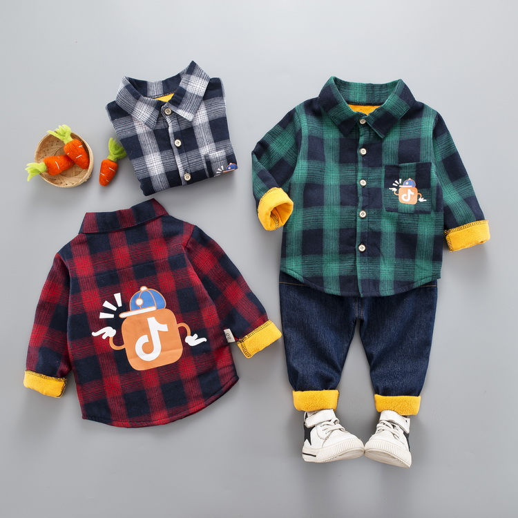 ילדי תינוק בני בנות בגדי תינוקות נטלמן עבה חולצה מכתב רצועת מכנסיים 2 יחסט פעוט בגדי ילדים חליפות להוסיף קטיפה