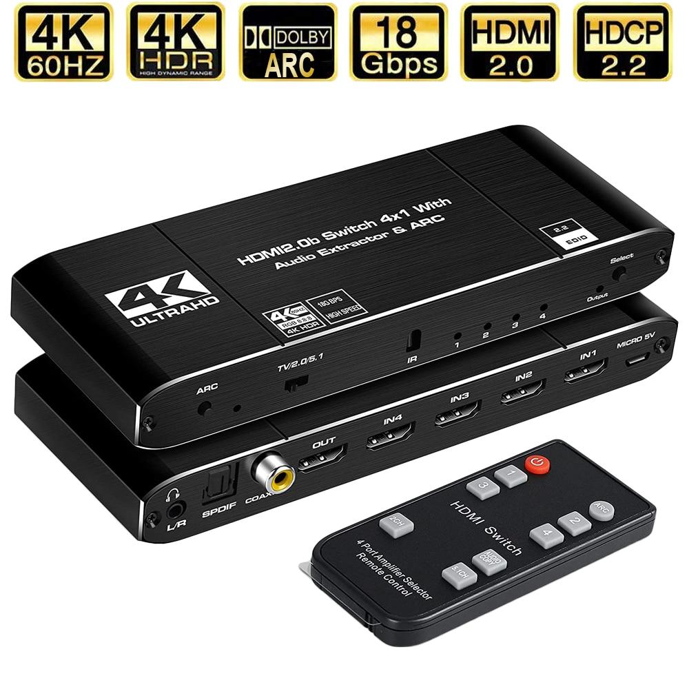 4K HDMI 2.0 Switch ، 4K HDMI ، مستخرج الصوت ، HDR ARC ، 4x1 ، مع جهاز تحكم عن بعد (HDMI ، إدخال إلى HDMI ، toslink ، صوت ستيريو)