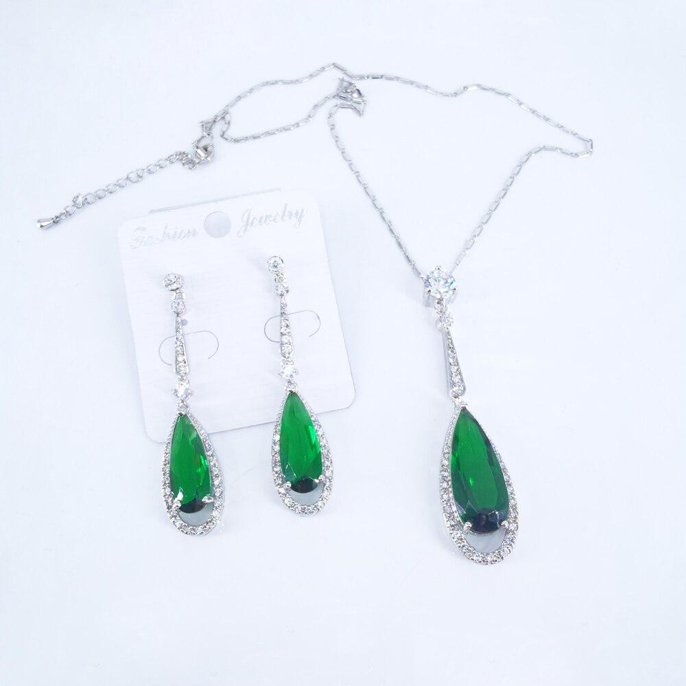 ¡2020 nuevo de moda cristal verde CZ pendientes y collar con circones conjunto de joyas cena fiesta Bola de boda batas de envío gratis!