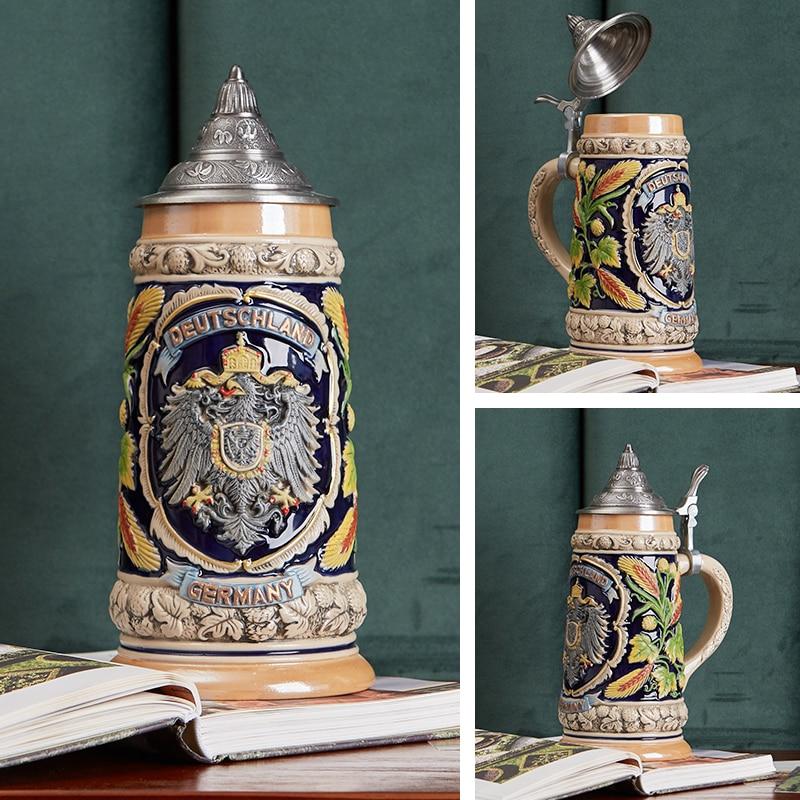 600ml Beer Mugs Large Capacity Retro Resin Stainless Steel Handmade Cup Tankard Glass Mug Best Birthday Valentine Fans Gift