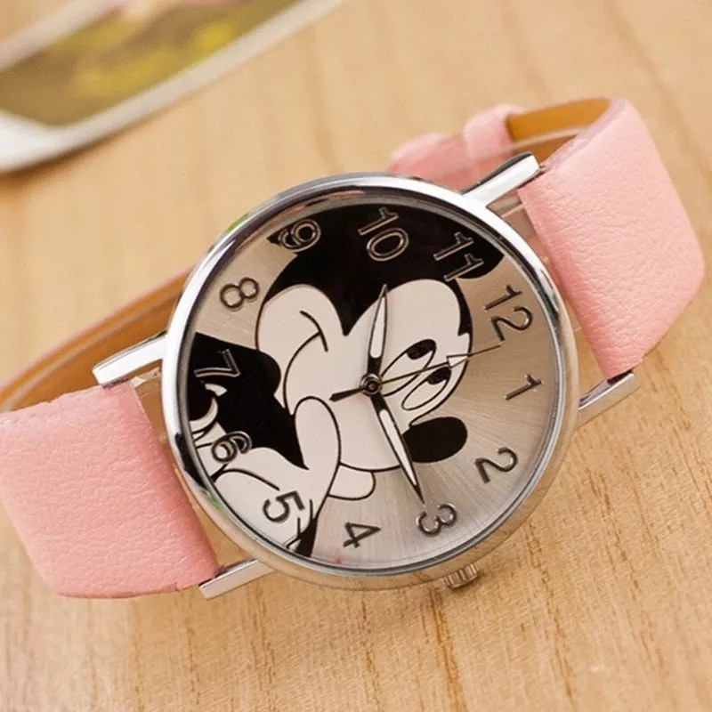 Famous Brand Women Watch Cartoon Character Pattern Quartz Wristwatch Ladies Girls Leather Casual  Ratón Lindo De Dibujos Animado