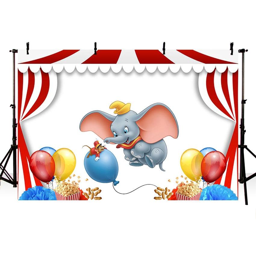 7x5ft de circo, de Carnaval etapa Dumbo elefante globos de fondo de estudio de fotografía fondo de vinilo de 220cm X 150cm Cst3258