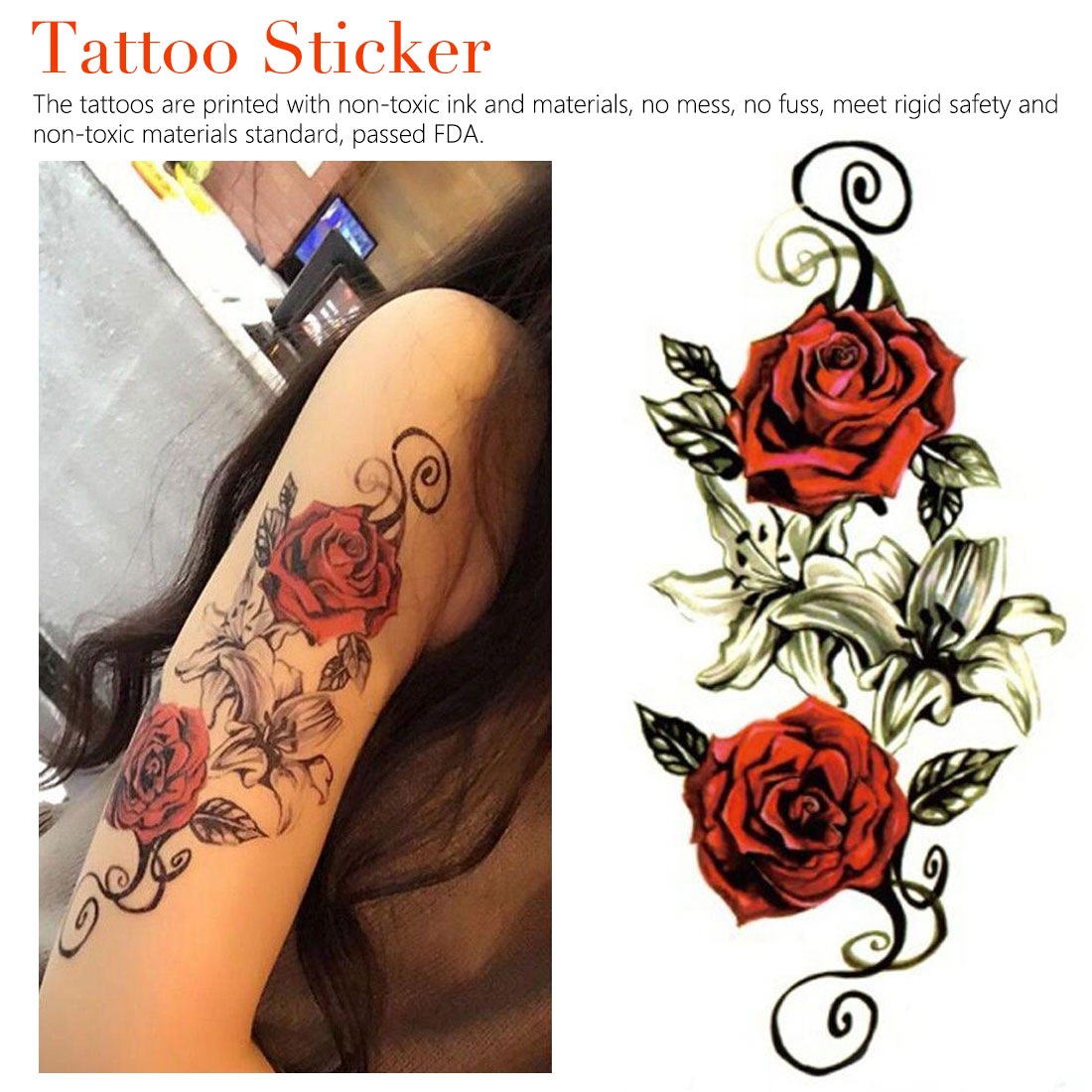 1 Pza 3D realista Rosa flor sexo impermeable tatuajes temporales mujeres Flash tatuaje brazo hombro flores Grandes pegatinas