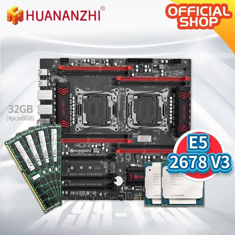 HUANANZHI X99 T8D X99 اللوحة الأم إنتل المزدوج مع إنتل سيون E5 2678 V3 * 2 مع 4*8GB DDR3 RECC الذاكرة كومبو مجموعة NVME NGFF