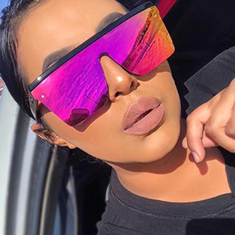 vintage Oversized Square Sunglasses Men Women Brand Designer Flat Top Fashion One Piece Lens Sun Gla